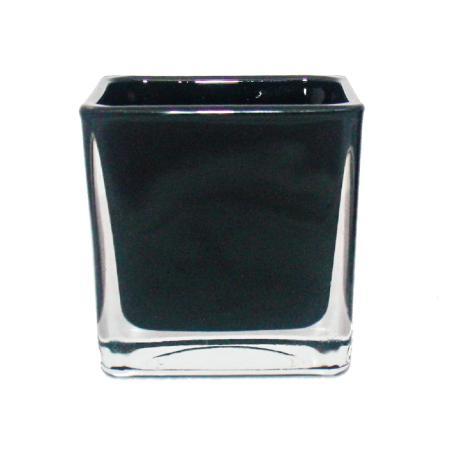 Übertopf Glas-Würfel - 8x8x8cm schwarz