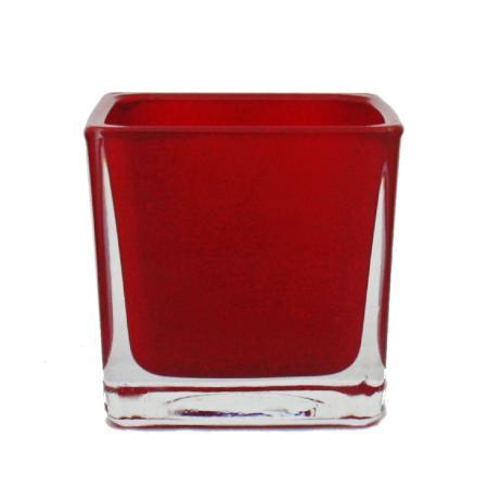 Overpot-Flowerpot glass cubes - 12x12x12cm red