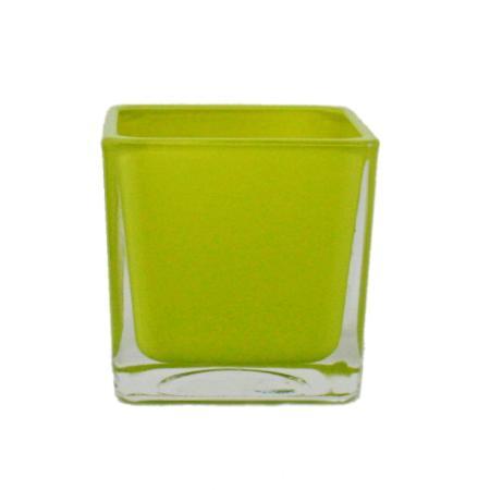 Overpot-Flowerpot glass cubes - 12x12x12cm green