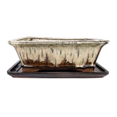 Bonsai bowl and saucer Gr. 4 - special glaze with fine color-effect - angular - cream / brown - L 26cm - B 20cm - H 8cm
