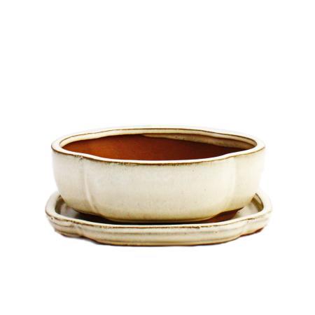 Bonsai cup and saucer Gr. 2 - light beige - haitang/oval - model I5 - L 14,5cm - B 12,5cm - H 5cm