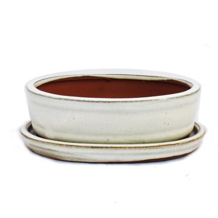 Bonsai cup and saucer Gr. 2 - light beige - oval - model O7 - L 15,5cm - B 12cm - H 4,5cm