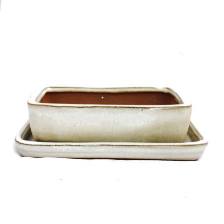 Bonsai-Schale mit Unterteller Gr. 2 - hellbeige - eckig - Modell G30 - L 14cm - B 11cm - H 4cm