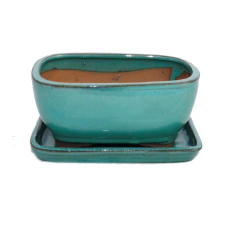 Bonsai cup and saucer Gr. 2 - turquoise - oval - model G92 - L 15,5cm - B 12,5cm - H 7cm