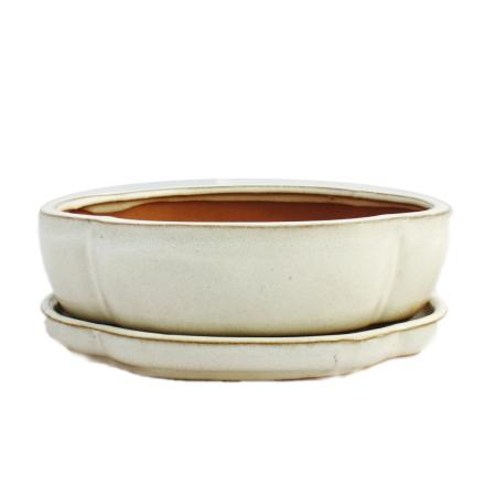 Bonsai-Schale mit Unterteller Gr. 3 - hellbeige - haitang/oval  - Modell I5 - L 17cm - B 14cm - H 5,5cm