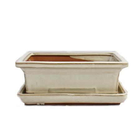 Bonsai-Schale mit Unterteller Gr. 3 - hellbeige - eckig - Modell G29 - L 18cm - B 13cm - H 6cm