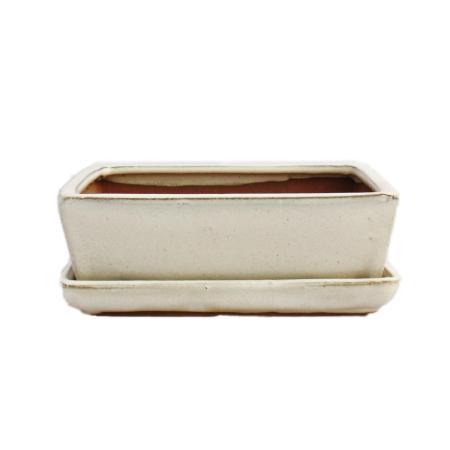 Bonsai-Schale mit Unterteller Gr. 3 - hellbeige - eckig - Modell G1 - L 18,5cm - B 14cm - H 6cm