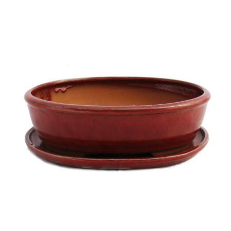 Bonsai-Schale mit Unterteller Gr. 4 - rot - oval - Modell O3 - L 26cm - B 20,5cm - H 7,5cm