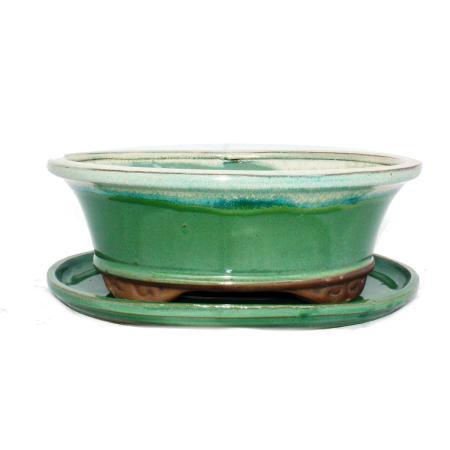 Bonsai-Schale mit Unterteller Gr. 4 - grün/beige - oval - Modell O4 - L 26cm - B 21cm - H 7,5cm
