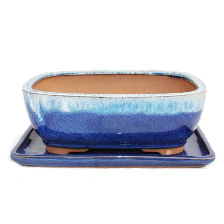 Bonsai-Schale mit Unterteller Gr. 4 - blau/beige - rechteckig - Modell G5B - L 25,5cm - B 19cm - H 9cm