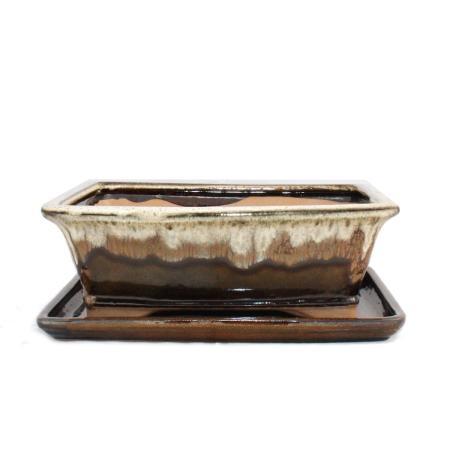 Bonsai cup and saucer Gr. 4 - brown/beige - rectangular - model G93 - L 25,5cm - B 20cm - H 9cm