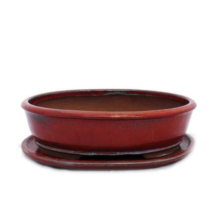 Bonsai-Schale mit Unterteller Gr. 5 - rot - oval - Modell O3 - L 31cm - B 24,5cm - H 8,5cm