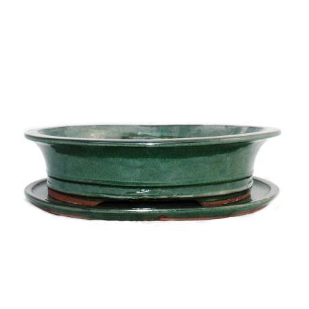 Bonsai-Schale mit Unterteller Gr. 5 - grün - oval - Modell O4 - L 31cm - B 24,5cm - H 8,5cm