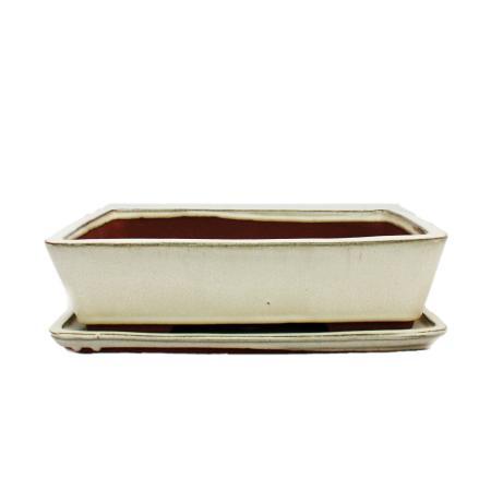 Bonsai cup and saucer Gr. 5 - light beige - square - model G30 - L 31cm - B 23cm - H 8 cm