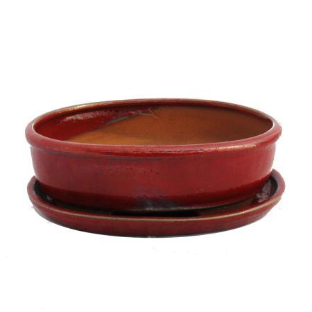 Bonsai-Schale mit Unterteller Gr. 8 Zoll - rot - oval - Modell O3 - L 21cm - B 16cm - H 6cm
