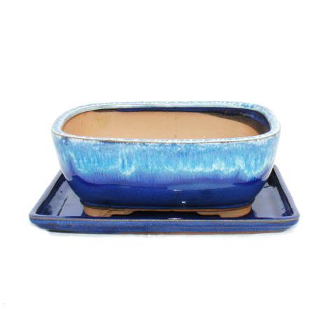 Bonsai-Schale mit Unterteller Gr. 8 Zoll - blau-beige - eckig - Modell G5B - L 20,5cm - B 16cm - H 8cm