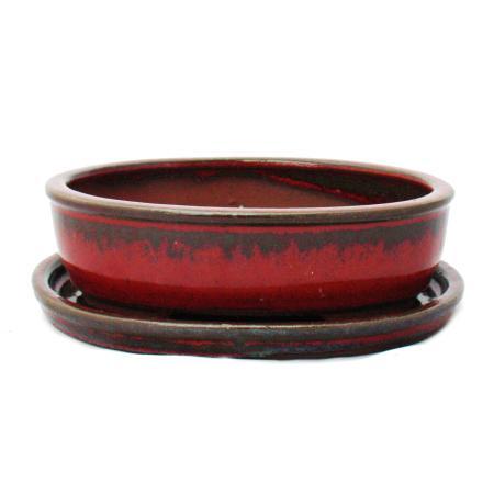 Bonsai-Schale mit Unterteller Gr. 2 - Sonderglasur mit edlem Farbverlauf-Effekt - oval O3 - rot-grau - L 15cm - B 11,5cm - H 4,5cm