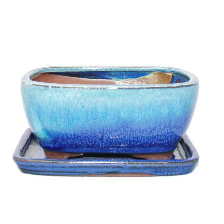 Bonsai bowl with saucer size 2 - special glaze with elegant gradient effect - rectangular G5B - blue-beige - L 15.6cm - W 12.5cm - H 7cm