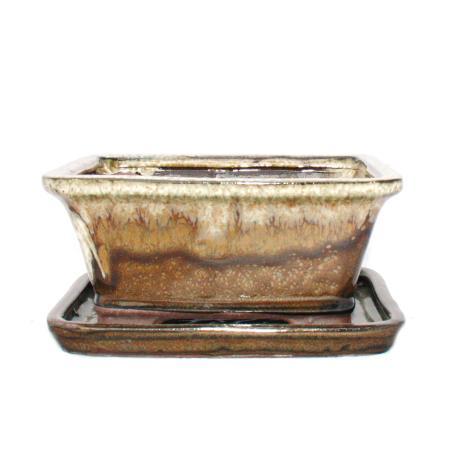 Bonsai-Schale mit Unterteller Gr. 2 - Sonderglasur mit edlem Farbverlauf-Effekt - rechteckig G93 - braun-beige - L 15,5cm - B 12,5cm - H 7,2cm