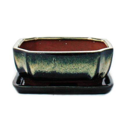Bonsai bowl with saucer size 2 - special glaze with elegant gradient effect - rectangular G117 - black-white - L 15.8cm - W 12.5cm - H 6cm