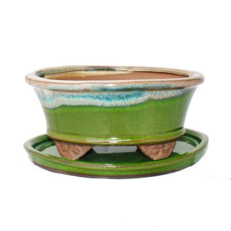Bonsai bowl with saucer Gr. 2 - Special glaze with noble gradient effect - oval 09 - light green-beige - L 16cm - W 12cm - H7,3cm