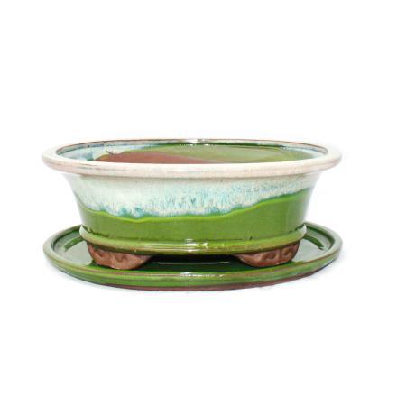 Bonsai-Schale mit Unterteller Gr. 4 - Sonderglasur mit edlem Farbverlauf-Effekt - oval 09 - hellgrün-beige -  L 25,5cm - B 21cm - H 9cm
