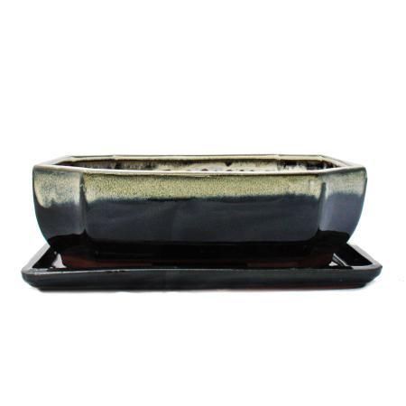 Bonsai bowl with saucer size 4 - special glaze with elegant gradient effect - rectangular G117 - black-white - L 25,5cm - W 19,5cm - H 8,2cm
