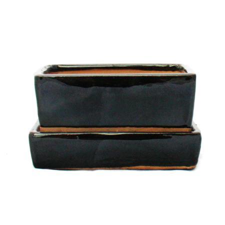 Bonsai-Schale mit Wasserspeicher-Untersetzer -  Gr. 2 - schwarz - rechteckig - L 13,7cm - B 9,2cm - H 4,8cm