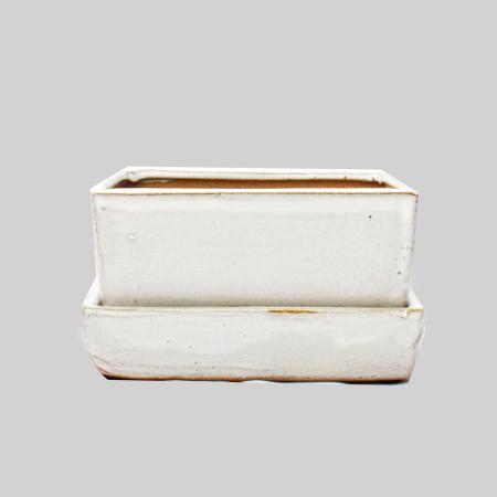 Bonsai-Schale mit Wasserspeicher-Untersetzer -  Gr. 2 - weiss - rechteckig - L 13,7cm - B 9,2cm - H 4,8cm