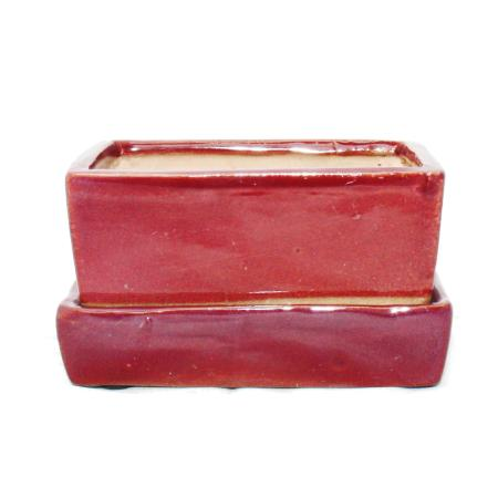 Bonsai-Schale mit Wasserspeicher-Untersetzer -  Gr. 2 - rot - rechteckig - L 13,7cm - B 9,2cm - H 4,8cm