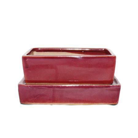 Bonsai-Schale mit Wasserspeicher-Untersetzer -  Gr. 3 - rot - rechteckig - L 16,4cm - B 11cm - H 5cm