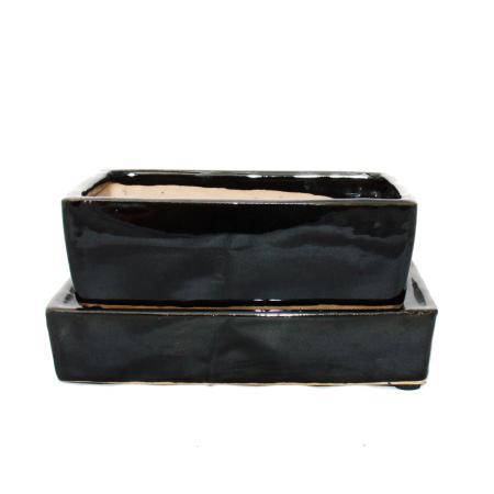 Bonsai bowl with water storage coaster - Gr. 3 - black - rectangular - L 16,4cm - W 11cm - H 5cm