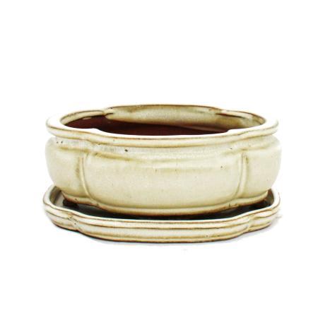 Bonsai-Schale mit Unterteller Gr. 2 - hellbeige - haitang/oval - Modell I3 - L 15cm - B 12cm - H 6cm