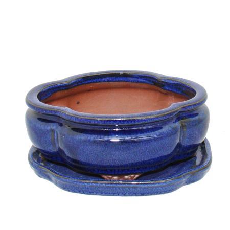 Bonsai-Schale mit Unterteller Gr. 2 - Blau - haitang/oval - Modell I3 - L 15cm - B 12cm - H 6cm