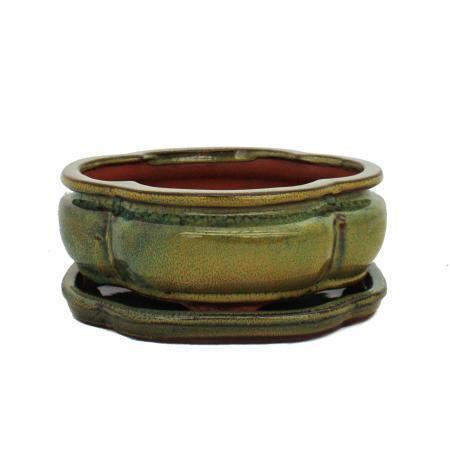 Bonsai bowl with saucer Gr. 2 - haitang I3 - olive-brown - L 15cm - W 12cm - H 6cm
