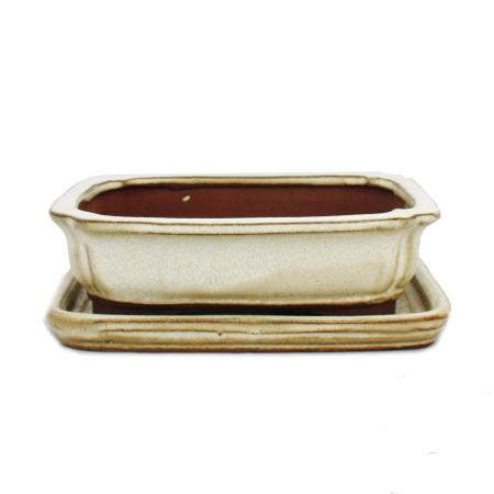 Bonsai-Schale mit Unterteller Gr. 2 - hellbeige - rechteckig - Modell G12 - L 15,5cm - B 12cm - H 4,5cm