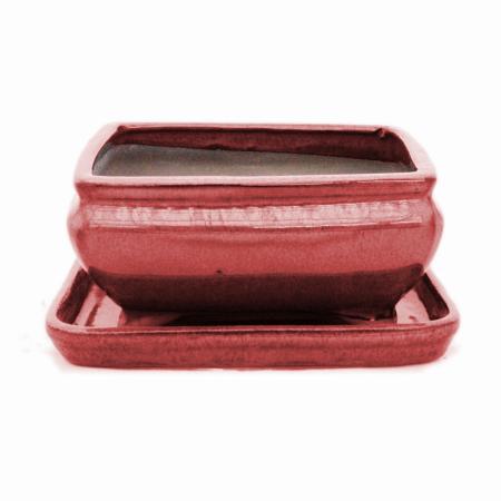 Bonsai-Schale mit Unterteller Gr. 2 - Rot - rechteckig - Modell G81 - L 14,5cm - B 11,3cm - H 6,6cm