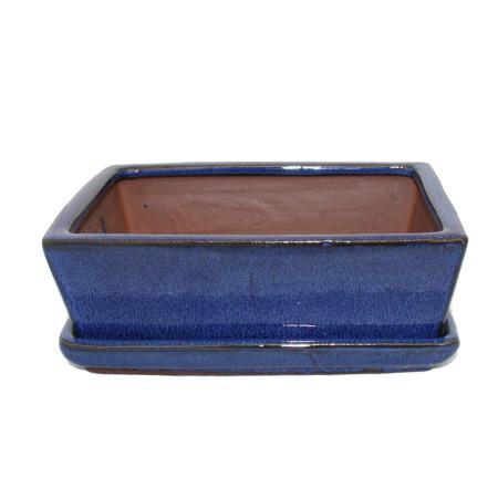 Bonsai-Schale mit Unterteller Gr. 3 - Blau - eckig - Modell G1 - L 18cm - B 14cm - H 5,5cm