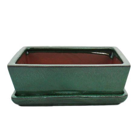 Bonsai-Schale mit Unterteller Gr. 3 - Grün - eckig - Modell G1 - L 18cm - B 14cm - H 5,5cm