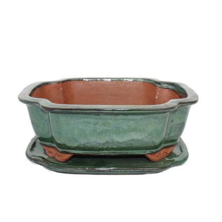 Bonsai bowl with saucer Gr. 4 - haitang I4 - green - L 26cm - W 20,5cm - H 8,5m