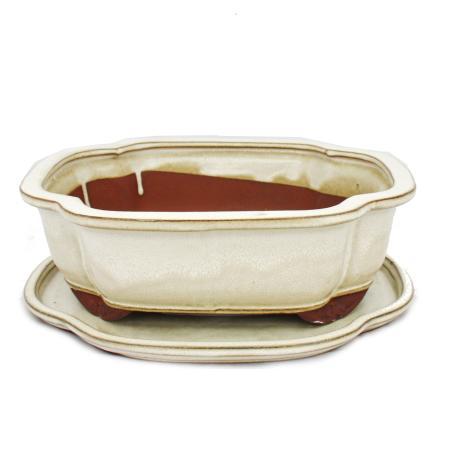 Bonsai-Schale mit Unterteller Gr. 4 - hellbeige -  haitang/oval - Modell I4 - L 26cm - B 20,5cm - H 8,5cm