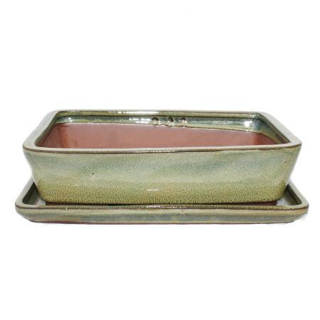 Bonsai-Schale mit Unterteller Gr. 4 - Oliv-Braun - eckig - Modell G30 - L 25cm - B 19cm - H 6,5cm
