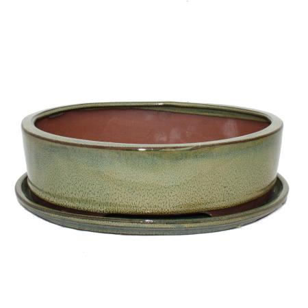 Bonsai-Schale mit Unterteller Gr. 4 - Oliv-Braun - oval - Modell O1 - L 25cm - B 20cm - H 7,5cm