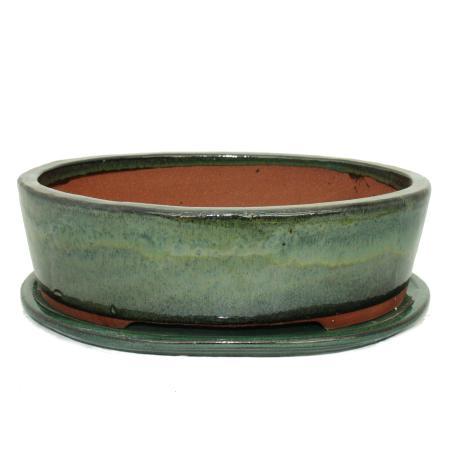 Bonsai bowl with saucer Gr. 4 - oval O1 - green - L 25cm - W 20cm - H 7,5cm
