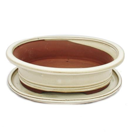 Bonsai bowl with saucer Gr. 4 - oval O4 - light beige - L 25cm - W 20cm - H 8cm