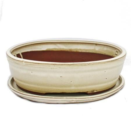 Bonsai bowl with saucer Gr. 4 - oval O7 - light beige - L 26cm - W 21cm - H 7,5cm