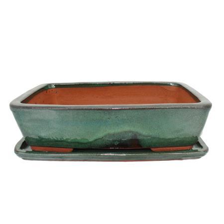 Bonsai-Schale mit Unterteller Gr. 4 - Grün - eckig - Modell G30 - grün - L 25cm - B 19cm - H 6,5cm