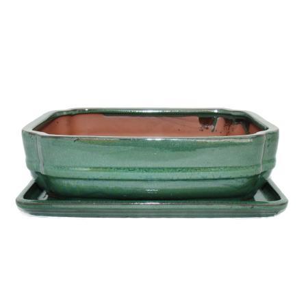 Bonsai bowl with saucer Gr. 4 - rectangular G68 - green - L 26cm - W 19cm - H 6,5cm