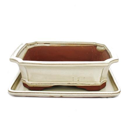 Bonsai-Schale mit Unterteller Gr. 4 - hellbeige - eckig - Modell G4 - L 26cm - B 20cm - H 8cm