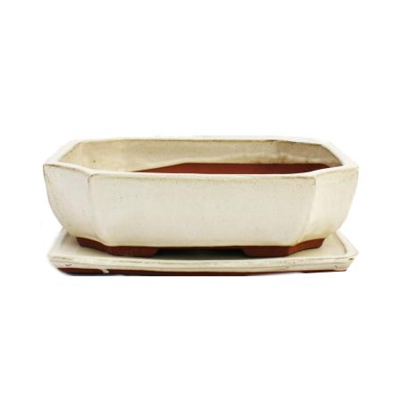 Bonsai-Schale mit Unterteller Gr. 4 - hellbeige - eckig - Modell G117 - L 25,5cm - B 19,5cm - H 8,2cm